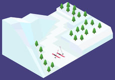 Isometric snowy winter Royalty Free Stock Photos