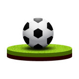 Isometric soccer ball on soccer field Royalty Free Stock Photo