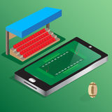 Isometric soccer football watching online  Royalty Free Stock Photography