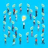 Isometric social concept. Crowdfunding. 3d crowd of people with different skin color, men and women stand around a man with a symbol of a light bulb. Vector Royalty Free Stock Photos