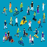 Isometric Social Crowd Template Royalty Free Stock Images