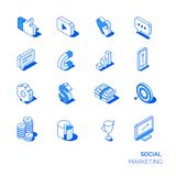 Isometric social marketing icons set. Line style 3D icons Royalty Free Stock Photos