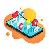 Isometric social media concept fluid orange royalty free illustration