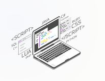 Isometric software development. Isometric laptop with software for development. Soft, web or game development software. Web pages and window, and site. Coding stock illustration