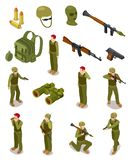 Isometric soldiers. Military special forces, warriors in army uniform, ammunition and weapons. 3d isolated vector set. Illustration of military isometric royalty free illustration