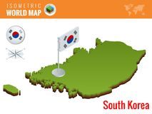 Isometric South Korea political map with capital Seoul. Vector illustration border with name of country. Isometric South Korea political map with capital Seoul Stock Photo