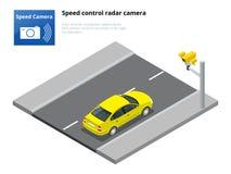 Isometric speed control radar camera,  on white background.  Royalty Free Stock Photography
