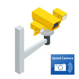 Isometric speed control radar camera,  on white background Stock Images