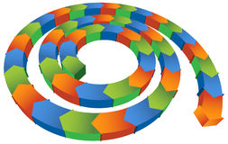 Isometric Spiral Arrow. Coiled 3D arrow with multiple colors Royalty Free Stock Photos