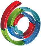 Isometric Spiral Arrow. Coiled 3D arrow with multiple colors Stock Image