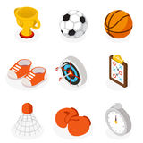 Isometric sport flat icons. 3D vector sport and sport games pictograms. Vector illustration Royalty Free Stock Image