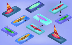 Isometric sporting boats, canoes, sailing, surfboard, with their oars, Stock Photography