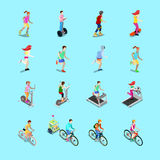 Isometric Sporting People Set. Running People, Cyclist on Bicycle, Woman Fitness, Woman on Skateboard Stock Photography