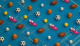Isometric sports fitness background made of soccer, football, tennis, baseball balls and colorful running sneakers. 3d Royalty Free Stock Photos
