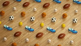 Isometric sports fitness background made of soccer, football, tennis, baseball balls and colorful running sneakers. 3d Royalty Free Stock Photo