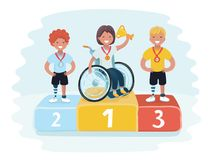 Isometric sports for peoples with disabled activity. Gold, Silver and Bronze Trophy medals on prize podium with confetti. Vector cartoon illustration of sports Royalty Free Stock Photography