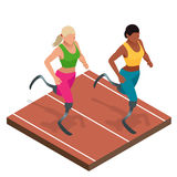 Isometric sports for peoples with disabled activity. Handicapped sportsmen. Athlete with handicap at the stadium Royalty Free Stock Photo