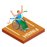 Isometric sports for peoples with disabled activity. Sport competitions Handicapped sportsmen. Royalty Free Stock Image