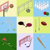 Isometric sporty z piłką Set Odosobneni wizerunki wewnątrz Fotografia Stock