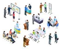 Isometric spotkanie Ludzie biznesu na prezentaci konferenci Drużynowy praca proces przy stołem 3d biznesmenów trenować ilustracji