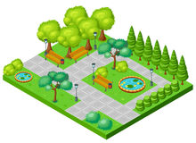 Isometric Spring Park Landscape Concept Royalty Free Stock Photos