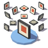 Isometric Square Picture Frame Stock Images