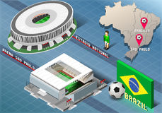 Isometric Stadium of Brasilia and Sao Paulo, Brazil Stock Images
