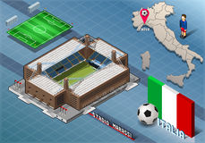 Isometric Stadium, Marassi, Genova, Italy. Detailed illustration of a Isometric Stadium, Marassi, Genova, Italy Stock Image