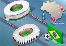 Isometric Stadium of Salvador and Porto Alegre, Brazil Royalty Free Stock Images