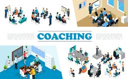 Isometric Staff Business Coaching Composition. With people take part in conference personnel training seminar brainstorming vector illustration stock illustration