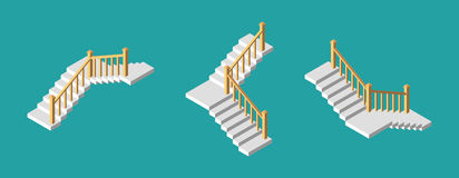 Isometric stairs with a rail. Vector illustration. Royalty Free Stock Photos