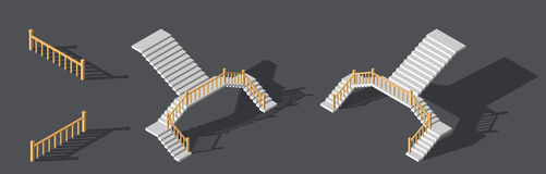 Isometric stairs with a rail. Vector illustration. Isometric stairs with a railings. Vector illustration Stock Photos