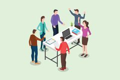 Isometric stand up or standing meeting concept for modern agile methodology workflow daily routines - vector royalty free illustration
