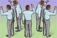 Isometric Standing Man Indicating Pose Stock Photography