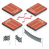 Isometric Start and Finish, Checkered flags, vector illustration Stock Photo
