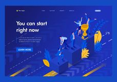 Isometric Start to Grow and Succeed Right Now. Business concept. Template Landing page stock illustration