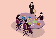 Isometric Start up Teamwork Brainstorming Office Meeting Room. Vector illustrations stock illustration