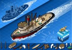 Isometric stary tugboat w nawigaci w frontowym widoku ilustracji