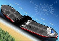 Isometric statku tankowiec Niszczący w Dwa częściach w Tylni widoku royalty ilustracja