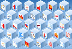Isometric Stats Element Cube Set Stock Image