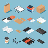 Isometric stionery and office equipment set. Isometric stationery vector set. Isometric mock up objects Stock Photography