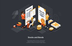 Free Isometric Stock And Bonds Concept. Business People Man And Woman Forming An Securities Investment Portfolio. Vector Stock Images - 170966014