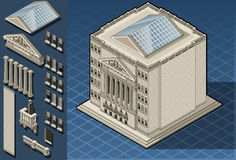 Isometric stock exchange building in new york vector illustration