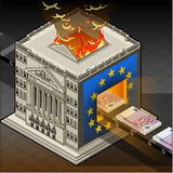 Isometric Stock exchange burning euro Stock Image