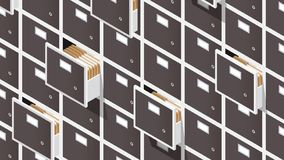 Isometric File Storage Concept Illustration. Vector isometric file storage concept illustration. Very detailed big storage cabinet with open drawers full of vector illustration