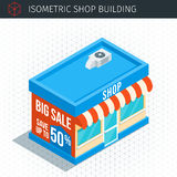 Isometric store building. Icon. Grocery shop. Vector illustration Royalty Free Stock Image
