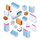 Isometric store furniture. Supermarket shelves, fridges and equipment. 3d shop interior vector elements royalty free illustration