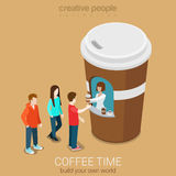 Isometric street coffee sales point Royalty Free Stock Photo