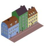 Isometric street. European city in 3D, vector vector illustration