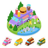 Isometric Street Food Burger Truck with People. Vector flat 3d illustration Stock Image